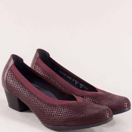 Кожени дамски обувки на нисък ток в цвят бордо- ALPINA  8864bd