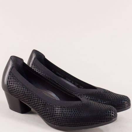 Черни дамски обувки на нисък ток с кожена стелка- Alpina 8864ch