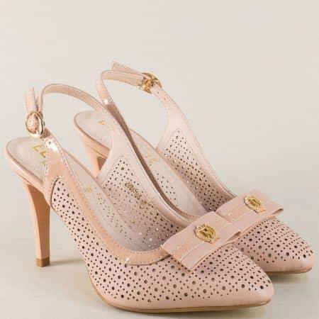 Розови дамски обувки на комфортно ходило с висок елегантен ток 8866105rz