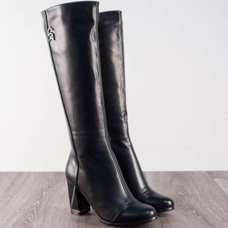 Модерни дамски ботуши в черен цвят на висок ток 8870136ch