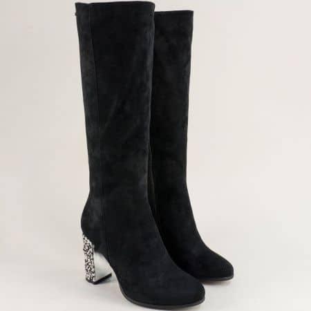 Черни дамски ботуши на ефектен висок ток- ELIZA 887104vch