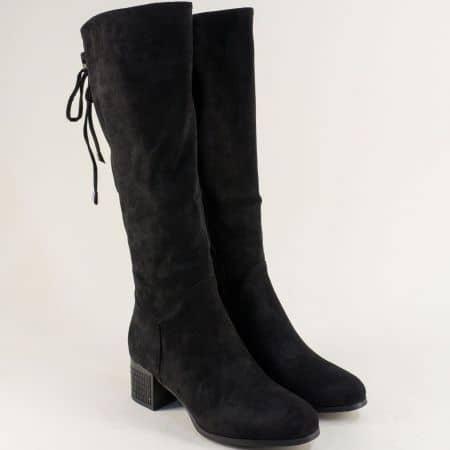 Комфортни дамски ботуши в черен цвят на среден ток 89175vch