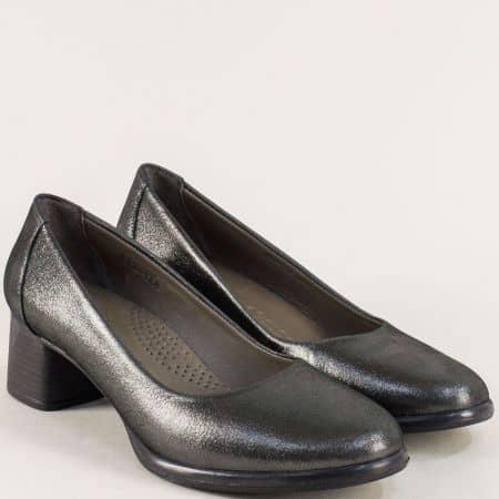Кожени дамски обувки на среден ток в цвят бронз 892148brz