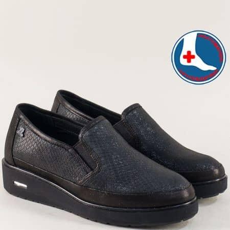Черни ортопедични дамски обувки от естествена кожа  8927ch