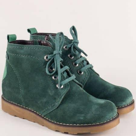 Дамски боти в зелен цвят на равно, каучуково ходило 893vz