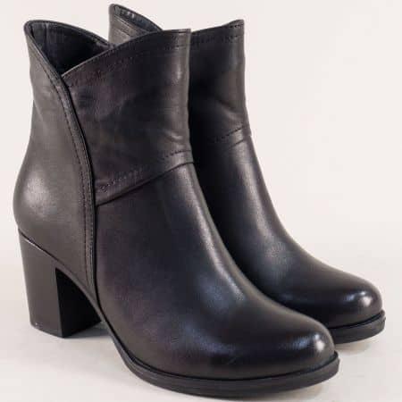 Дамски боти в черен цвят на висок ток от естествена кожа  8950ch