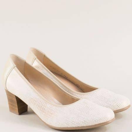 Бежови дамски обувки с кожена стелка на среден ток 8967psbj