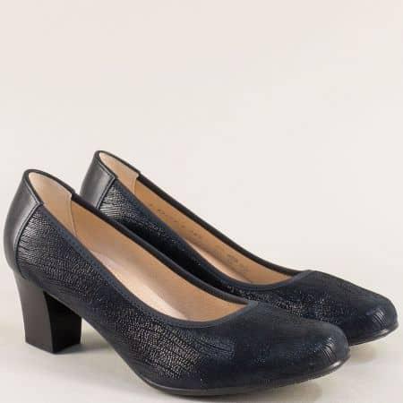Сини дамски обувки на среден ток от естествена кожа 8967s