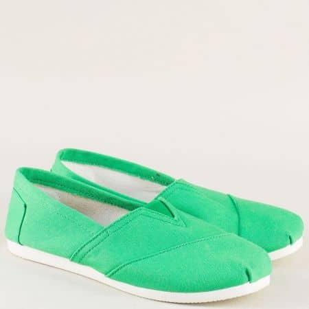 Дамски обувки, тип еспадрили в зелен цвят с ластик 8969z