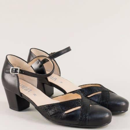 Черни дамски сандали със затворени пръсти и пета  8984ch