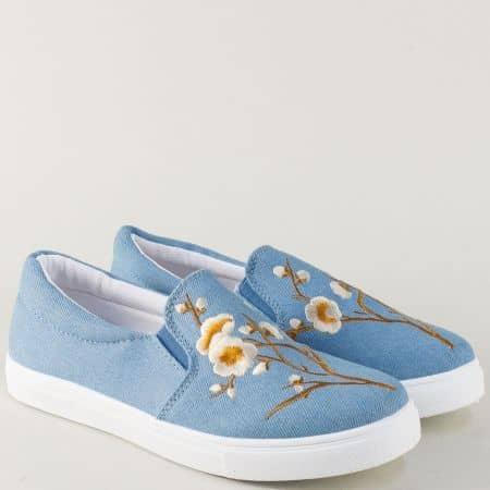 Светло сини дамски обувки на равно комфортно ходило 8987ds