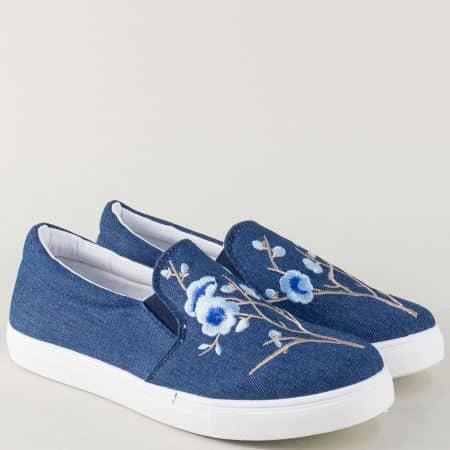Дамски спортни обувки на равно ходило в син цвят 8987dss