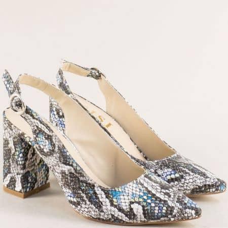 Дамски обувки на висок ток в бяло, синьо и черно 898zps1