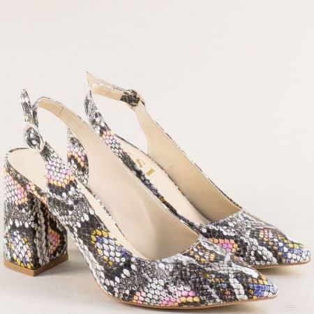 Дамски елегантни обувки в пъстри цветове на висок ток 898zps2