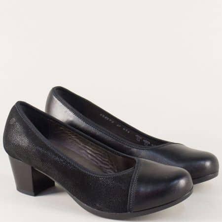 Дамски обувки на среден ток от черна естествена кожа 899ch