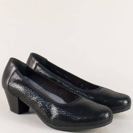 Черни дамски обувки на среден ток от естествена кожа  8w64ch