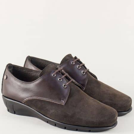 Кафяви дамски обувки от естествен велур и кожа 9003401kk