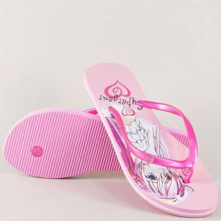 Розови дамски джапанки междъ пръстите на равно ходило 9008-40rz