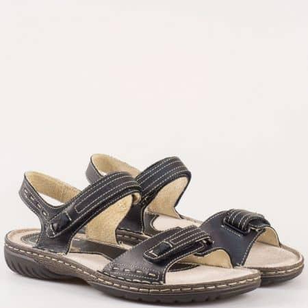 Български анатомични сандали, произведени от естествена кожа с лепенки за регулация на ширината 9012ch