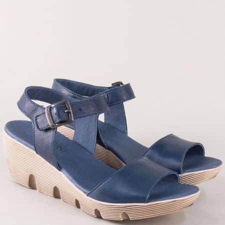 Сини дамски сандали на платформа от естествена кожа 9043s