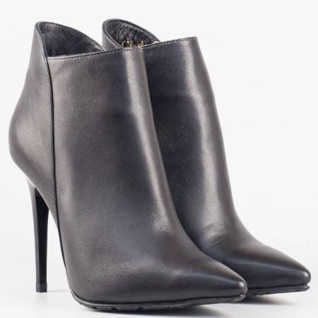 Дамски елегантни боти от естествена кожа на висок ток в черен цвят 904ch