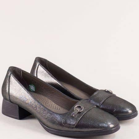Бронзови дамски обувки от сатен и естествена кожа 908148brz
