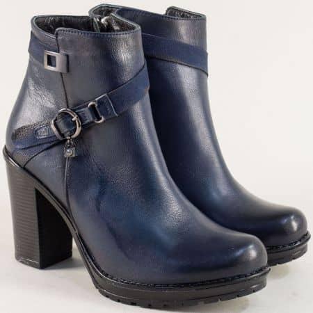 Сини дамски боти на висок ток от естествена кожа 9108021s