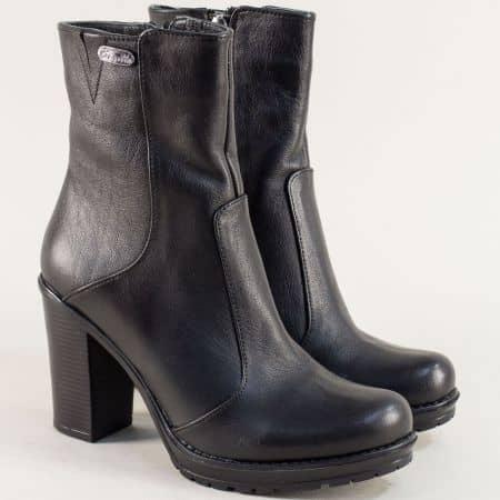 Дамски боти с топъл хастар на висок ток в черен цвят 9118021ch