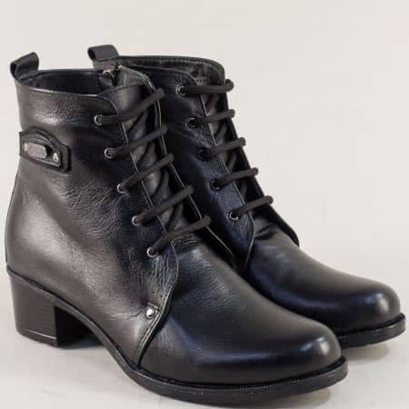 Черни дамски боти на нисък ток от естествена кожа 9122252ch