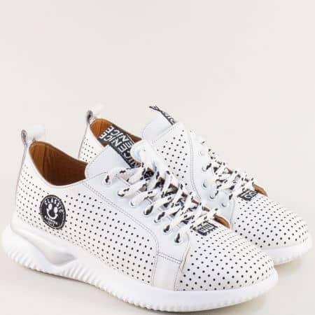 Бели спортни дамски обувки от естествена кожа отвън и отвътре 913b