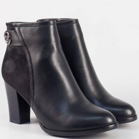 Модерни дамски боти на висок ток- Eliza в черно 9156105ch