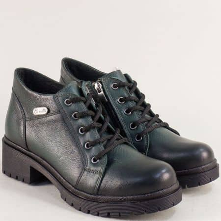 Зелени дамски обувки от естествена кожа на нисък ток 916225z