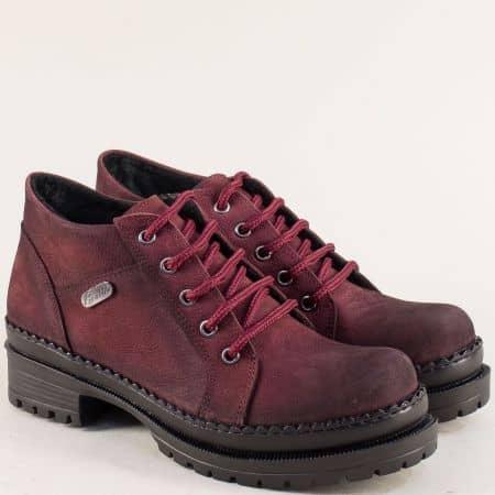 Дамски обувки с връзки цип от естествен набук в бордо  916nbd