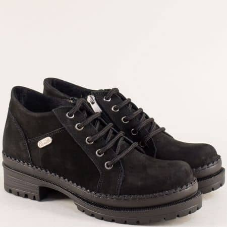 Дамски обувки на среден ток от естествен набук в черно 916nch