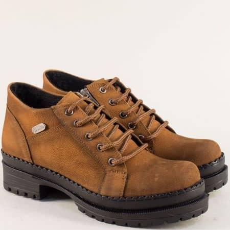 Кафяви дамски обувки с  кожена стелка и среден ток 916nk