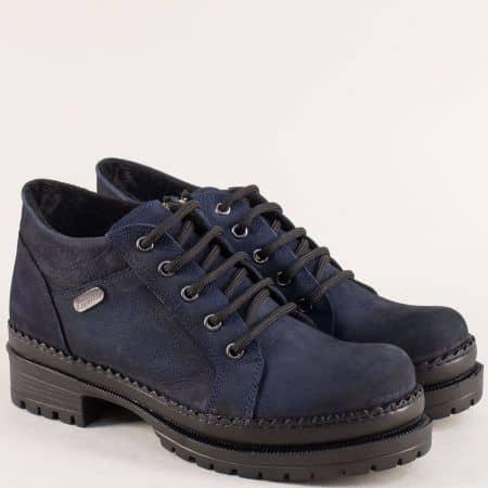 Сини дамски обувки на среден ток и платформа с грайфер 916ns
