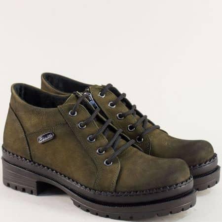 Зелени дамски обувки с грайфер от естествен набук 916nzz