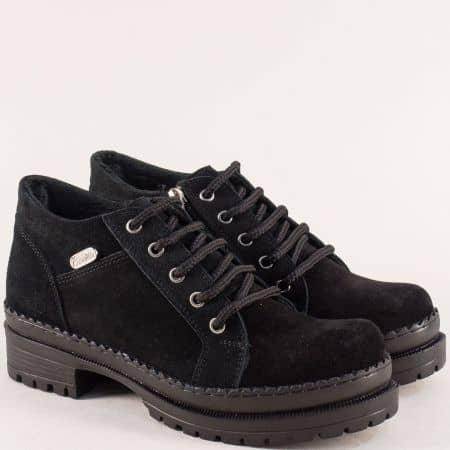Черни дамски обувки от естествен велур на среден ток 916vch