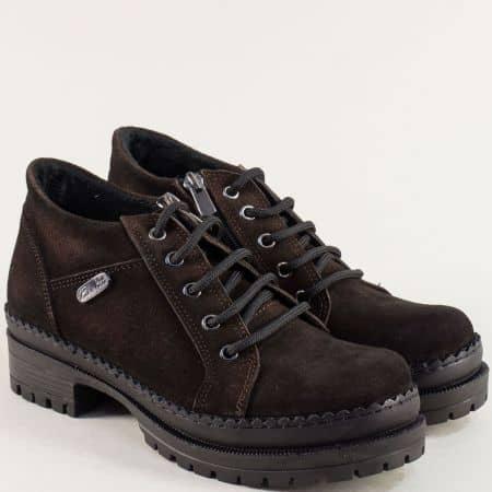 Тъмно кафяви дамски обувки от естествен велур 916vkk