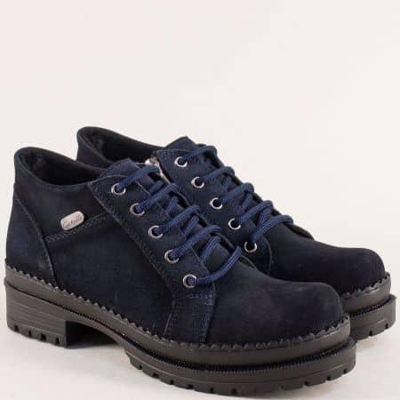 Тъмно сини дамски обувки от естествен велур 916vs