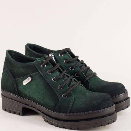 Зелени дамски обувки от естествен велур с кожена стелка 916vz