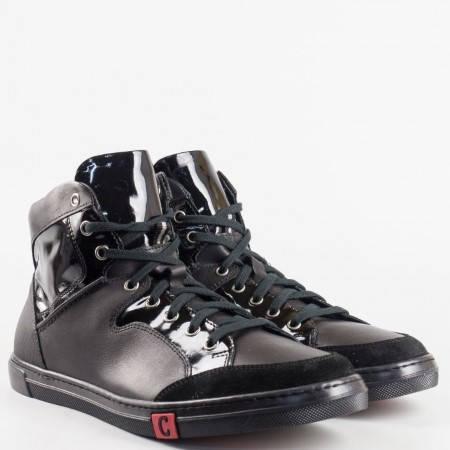 Черни мъжки кецове на водещ  български производител от естествена кожа и естествен лак 9171ch