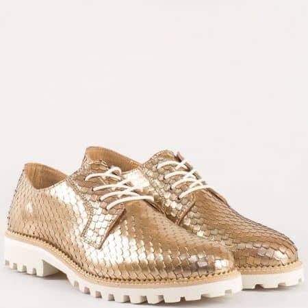 Холандски дамски обувки от естествена кожа в цвят злато с връзки и грайферно ходило на нисък ток 91826024zl