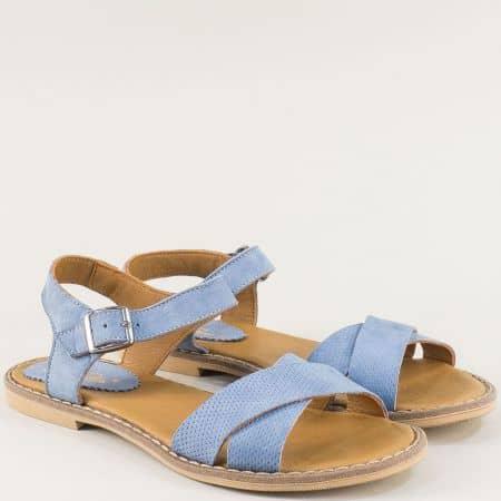 Равни дамски сандали от естествен набук в син цвят- NOTA BENE 921041017ns