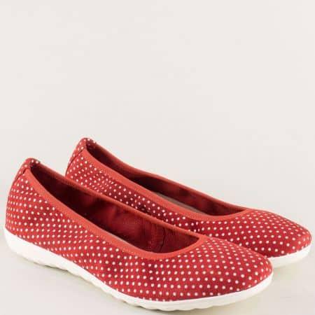 Равни дамски обувки от естествен набук в бяло и червено 922142chv