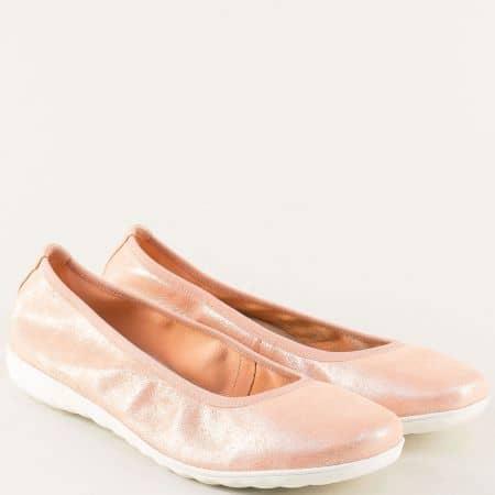 Равни дамски обувки от естествена кожа в розов цвят 922142rz