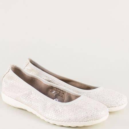 Кожени дамски обувки в сив цвят с блясък- Caprice 922142sv