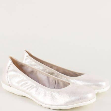 Равни дамски обувки от естествена кожа в сребристо 922150sr