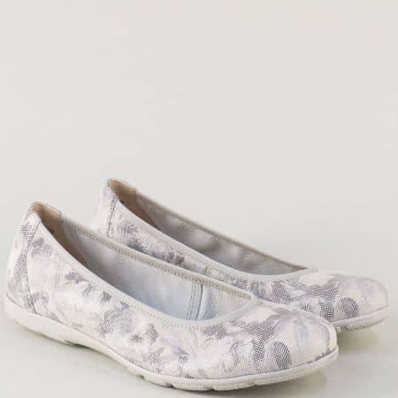 Равни дамски обувки от сива естествена кожа- Caprice 922150sv