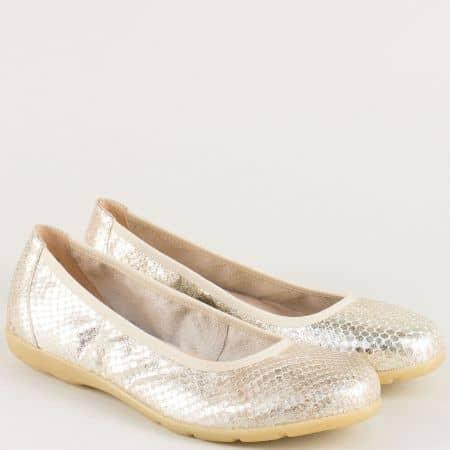 Равни дамски обувки от естествена кожа в златисто 922150zl